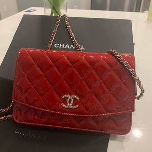 CHANEL Patent red leather WOC crossbody